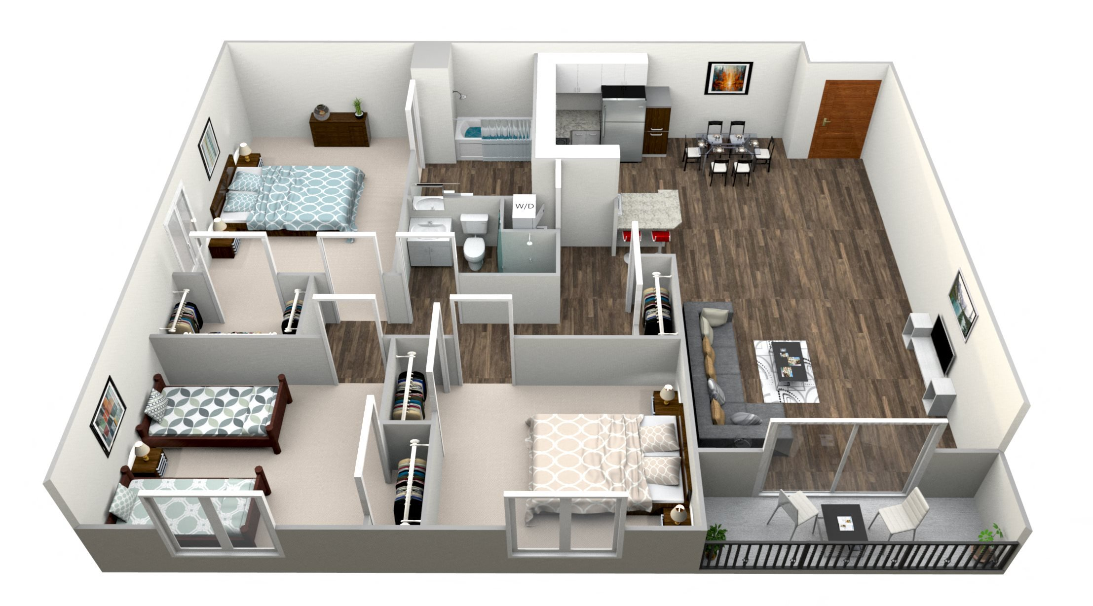 3 Bed 2 Bath F Floor Plan 6