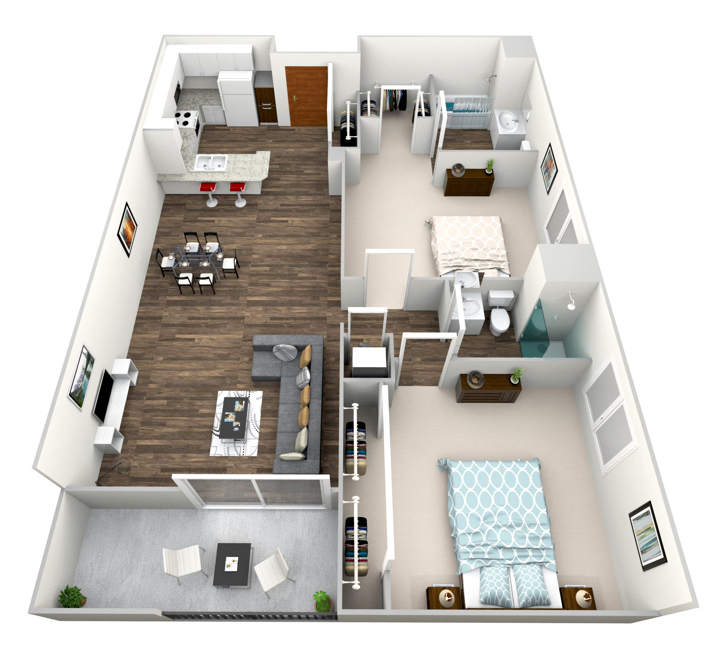 2 Bed 2 Bath H Floor Plan 8