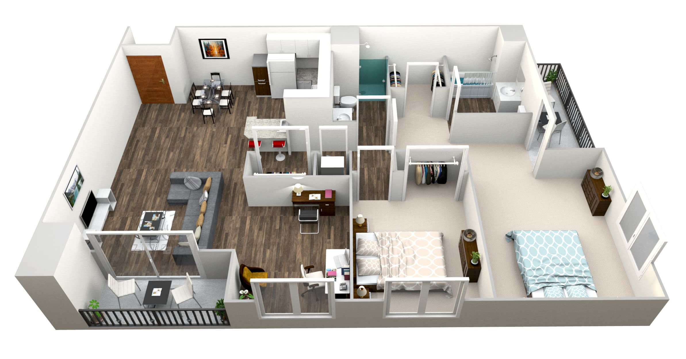 2 Bed 2 Bath I Floor Plan 9