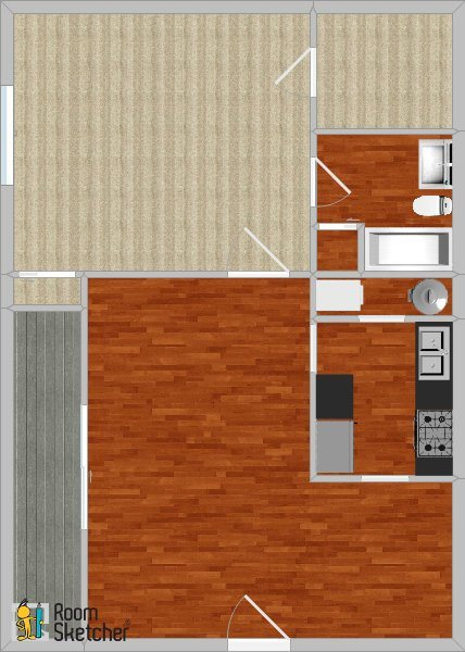 1 bed 1 bath, remodeled + W/D Floor Plan 2