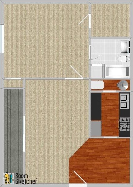 1 bed 1 bath, standard Floor Plan 3