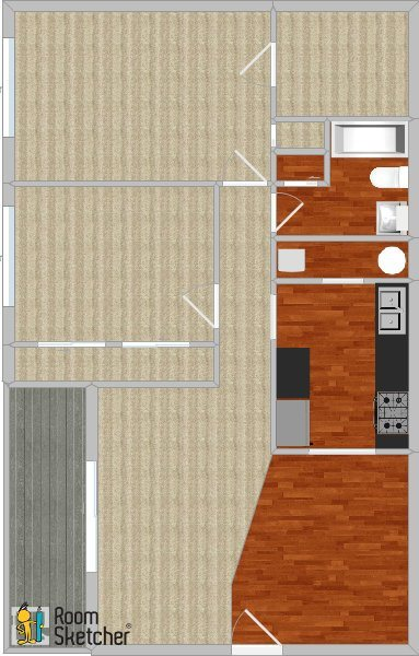 2 bed 1 bath, remodeled + W/D Floor Plan 5