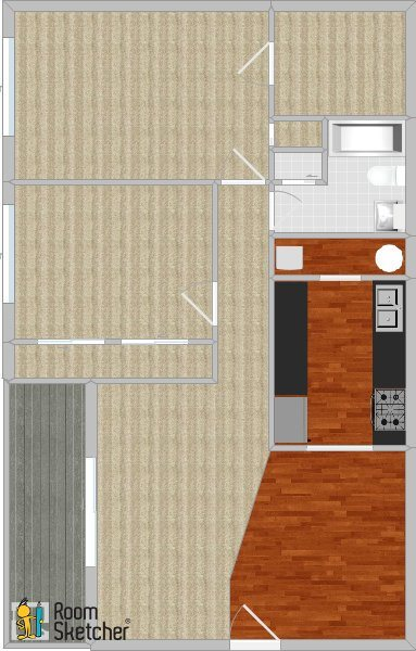 2 bed 1 bath, standard + W/D Floor Plan 7