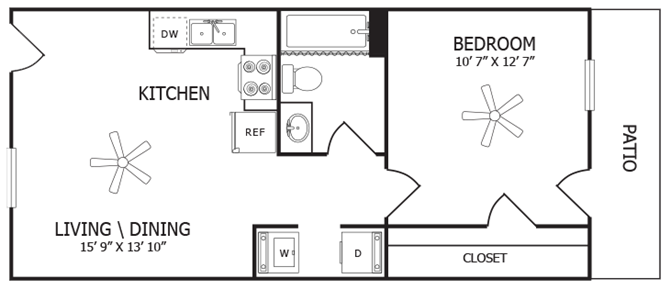 One Bedroom Apartments Arden Ridge Apartments in Amarillo, Texas