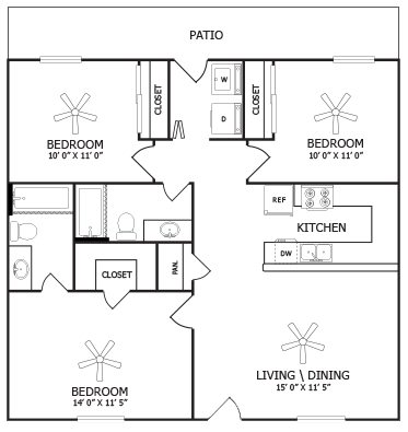 Three Bedroom Apartments Arden Ridge Apartments in Amarillo, Texas