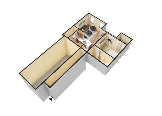 1x1 floor plan Apartments for rent in Waco, one bedroom apts for rent l Canyon Springs
