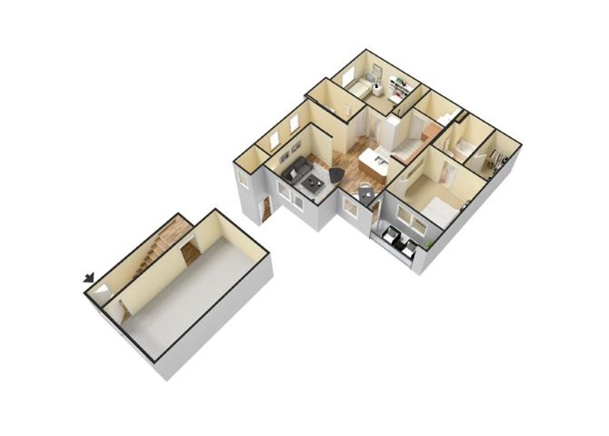 2x2 FlLoor Plan  Apartments for rent in Waco, Tx l Canyon Springs