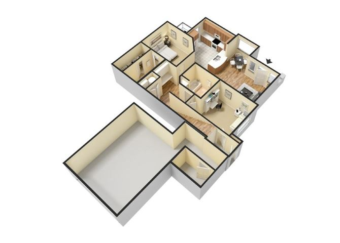 2x2 Floor Plan  Apartments for rent in Waco, l Canyon Springs