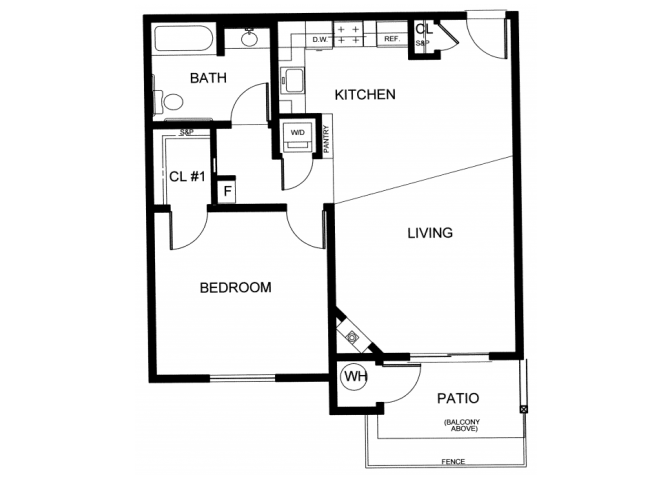 1BD, 1BTH B Floor Plan 2
