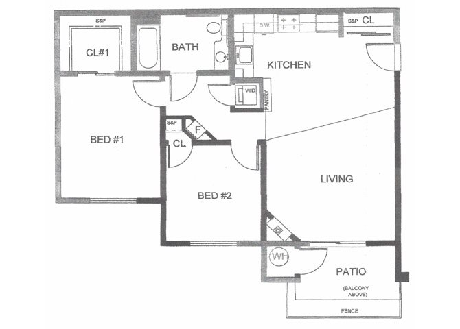 2BD, 1BTH Floor Plan 3