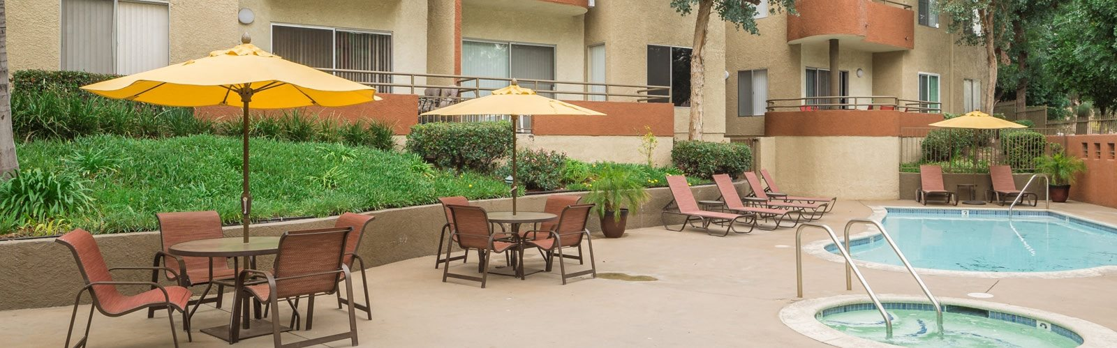 Poolside seating Rentals at Glenoaks Gardens in Sun Valley ca
