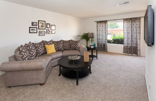 Spacious Living room with plush carpeting