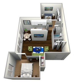 Two Bed One Bath Plan A