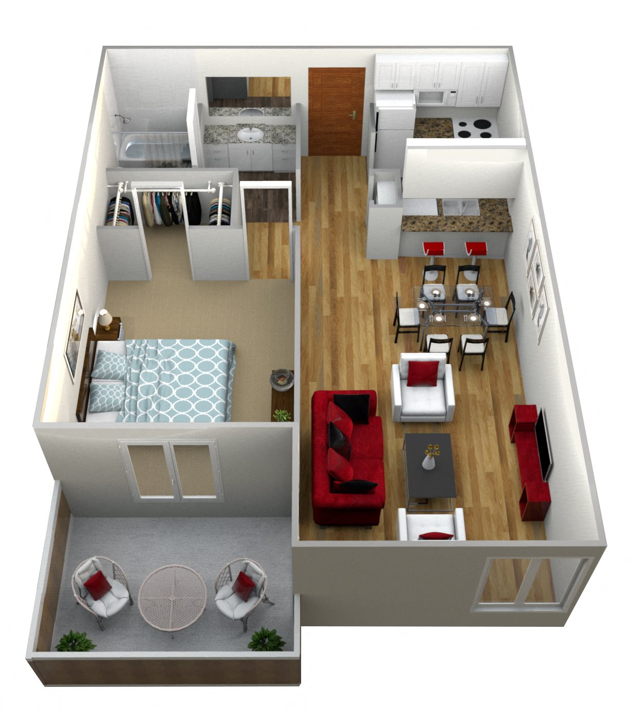 1 Bedroom Floor Plan 5