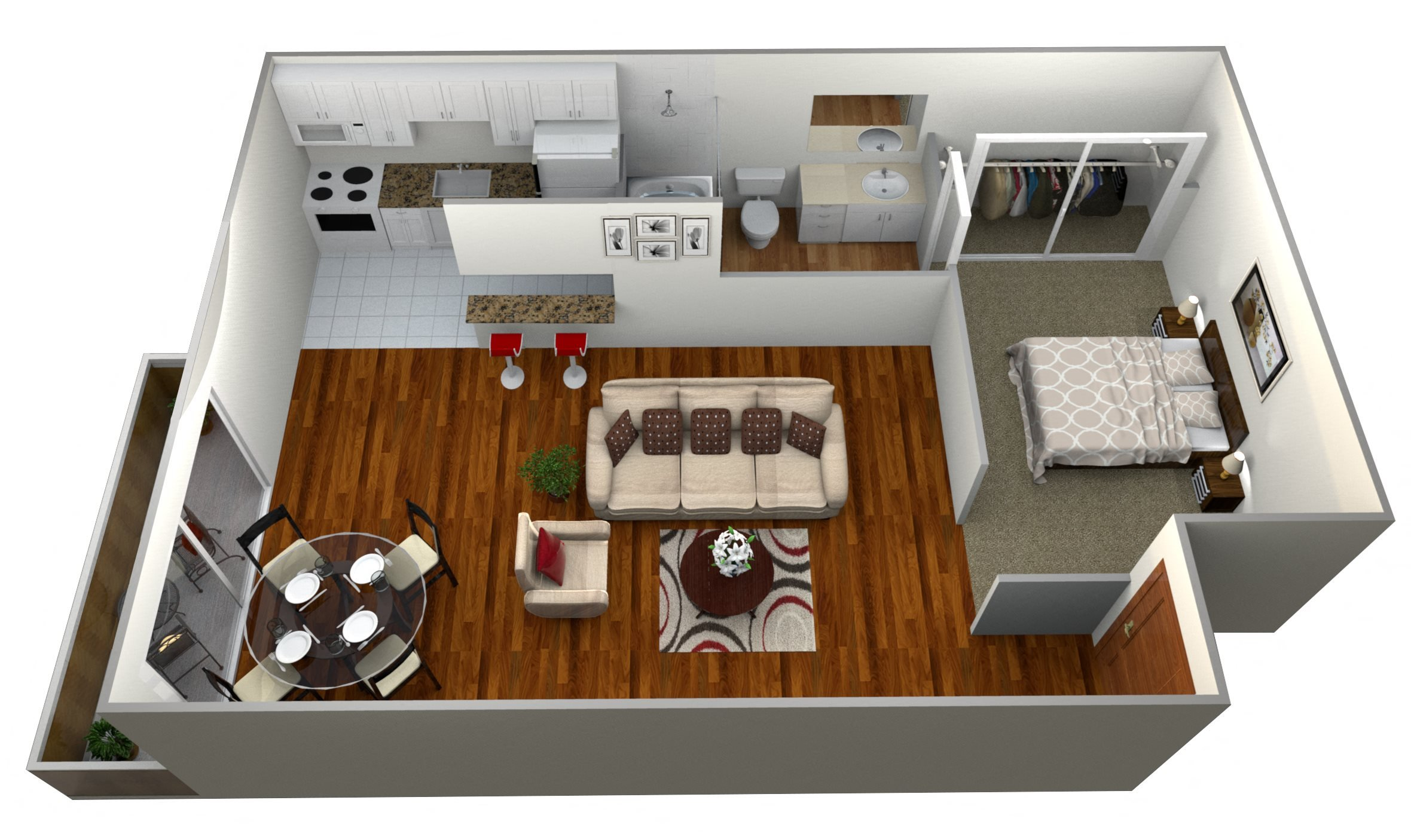 1 Bedroom Plan B Floor Plan 3