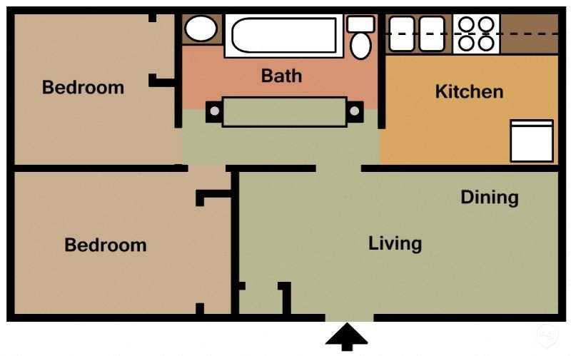 Two Bed - One and Half Bath Floor Plan 1