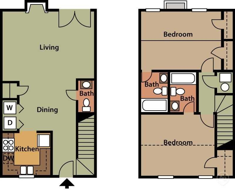 2 Bedroom 2.5 Bath Townhome Floor Plan 5