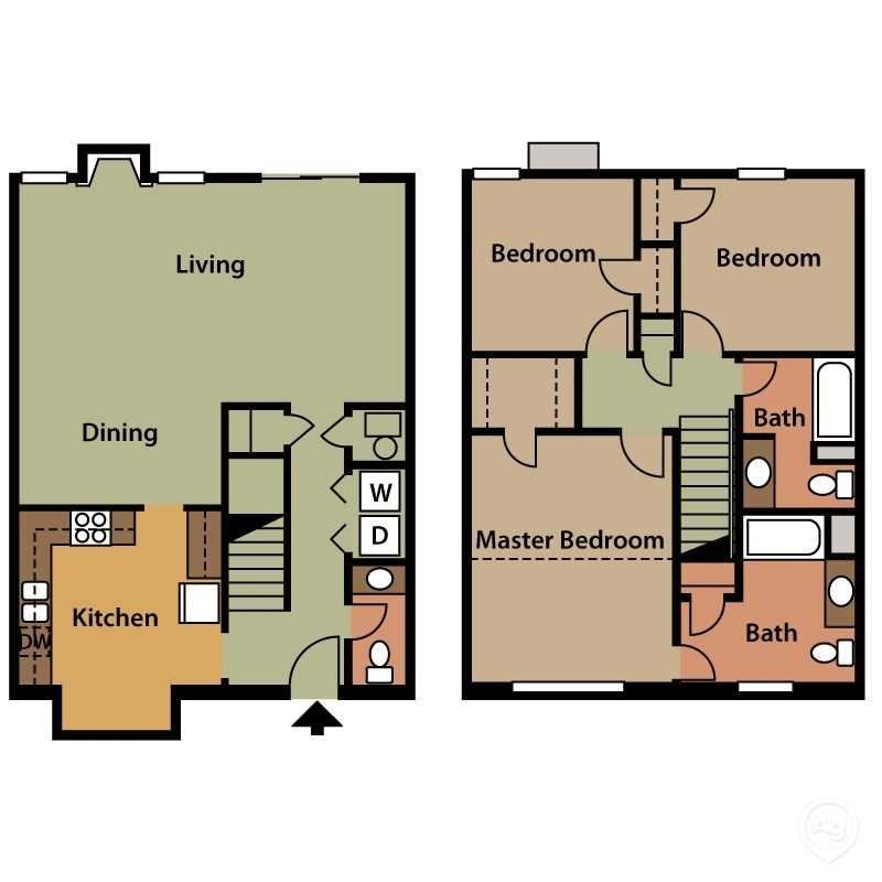3 Bedroom 2.5 Bath Townhome Floor Plan 6