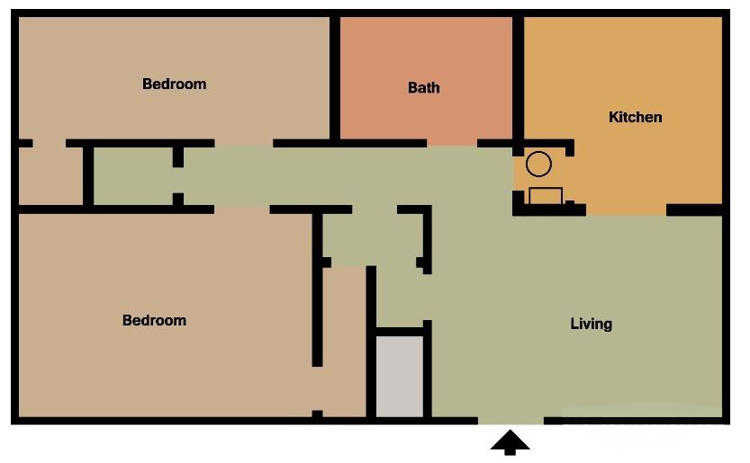 2 Bed 1Bath Floor Plan 2