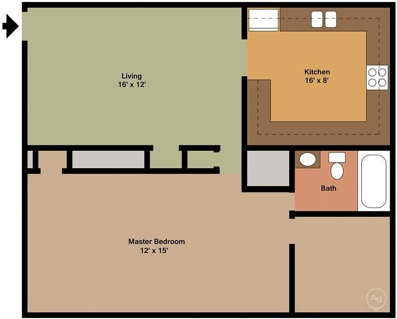1Bed - 1Bath Floor Plan 1