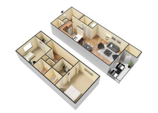 2 Bed 2.5 Bath-Town Home available with Lake View Floor Plan 5