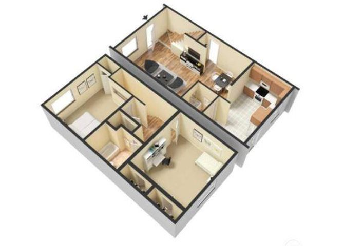 Two Bed - 1.5 Bath TH Floor Plan 3