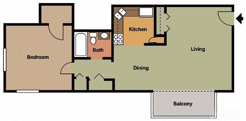 One Bed - One Bath Floor Plan 1