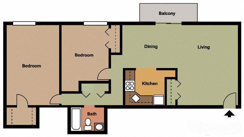 Two Bed - One Bath Floor Plan 2