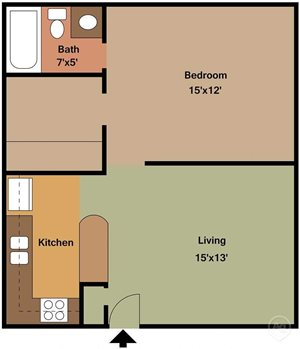 1 bed 1 bath large
