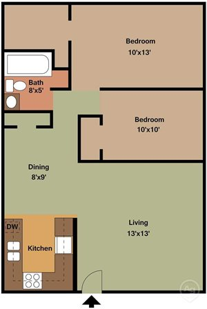 2 BED 1 BATH LARGE