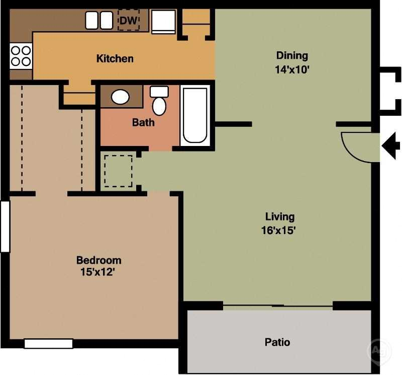 Large 1 Bed - 1 Bath Floor Plan 2