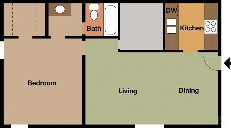 Small 1 Bed - 1 Bath Floor Plan 1