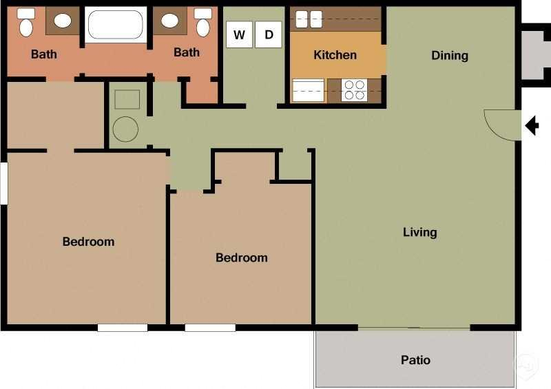 2 Bed - 1.5 Bath Floor Plan 3