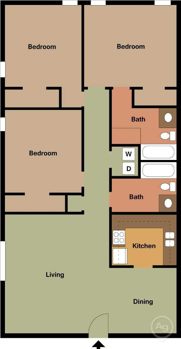 3 bed 2 bath small Floor Plan 6