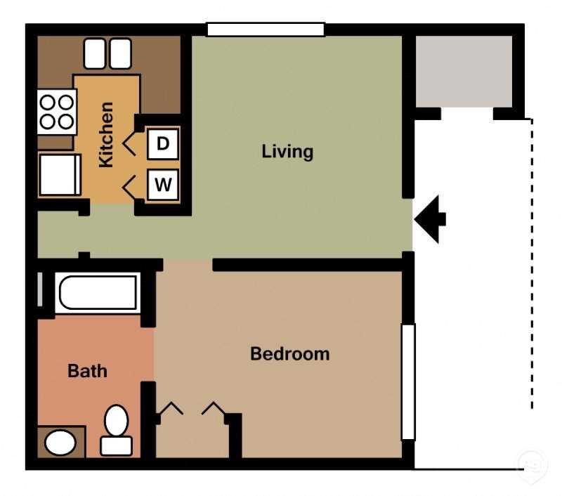1Bed 1Bath Efficiency Floor Plan 2