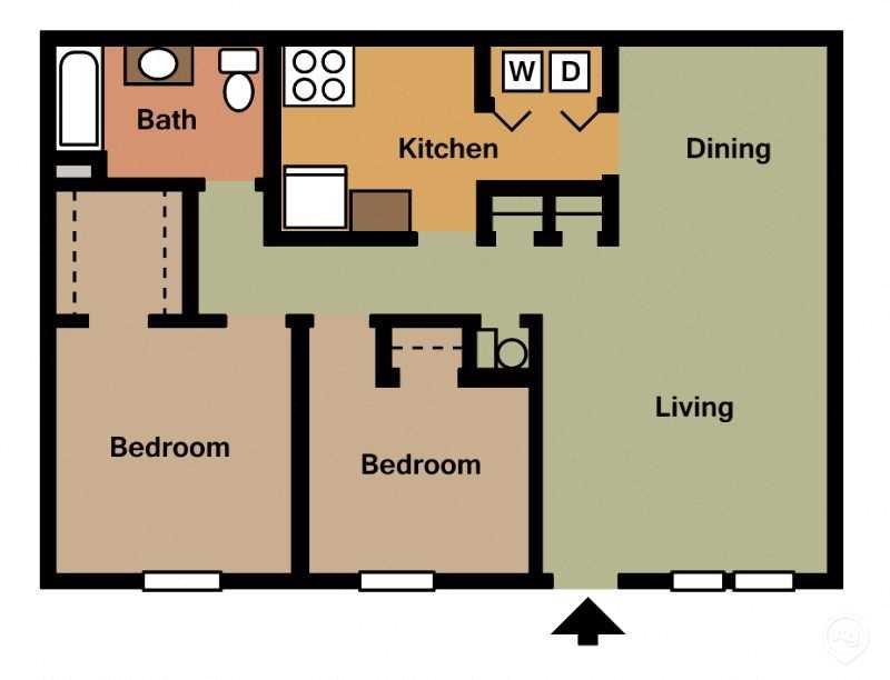 2Bed - 1Bath Floor Plan 4