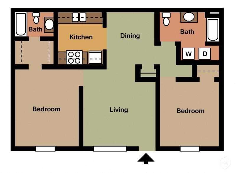 2Bed - 2Bath Floor Plan 5
