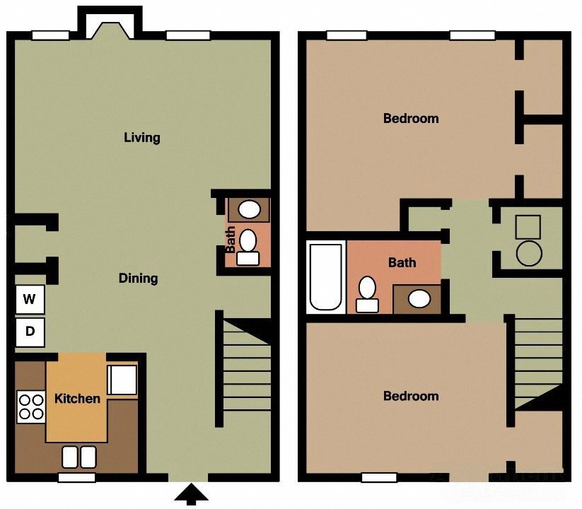 2 BR 1.5 Bath TH Floor Plan 8