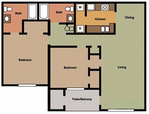 2 Bed - 2 Bath ( Available with Cathedral Ceilings and Fireplace)