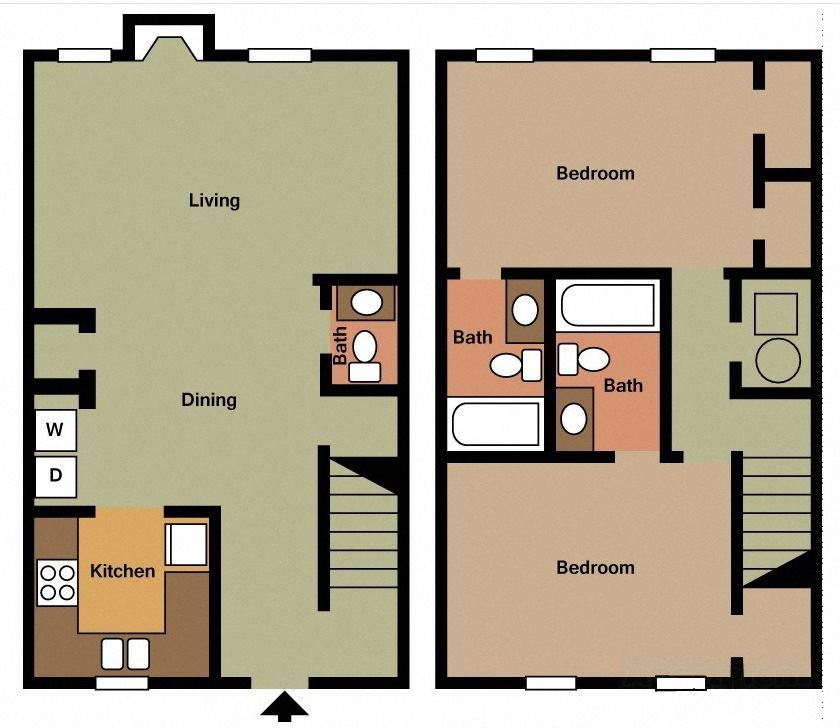 2 BR 2.5 Bath TH Floor Plan 9