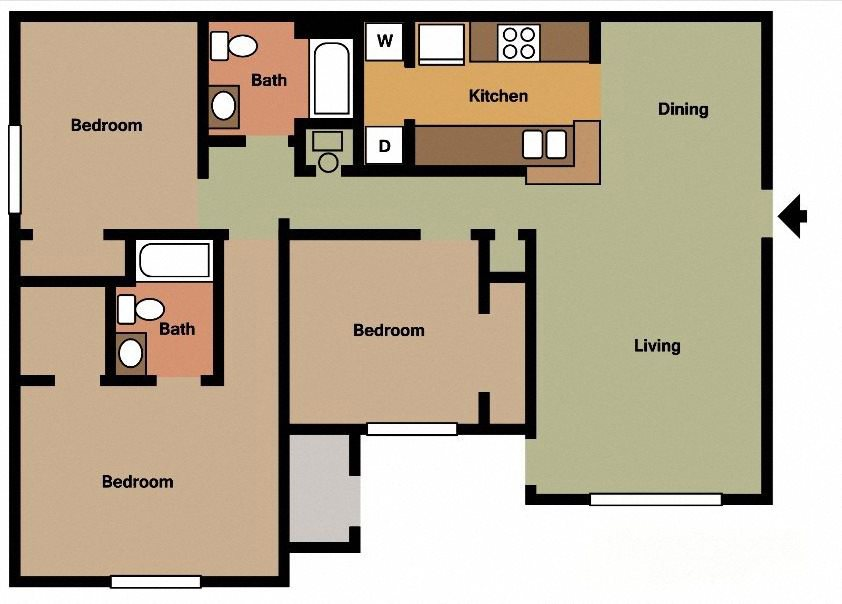 3Bed - 2Bath ( Available with Fireplace) Floor Plan 7