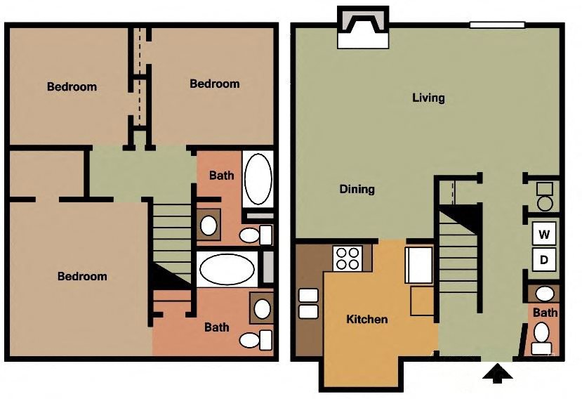 3 BR 2.5 BA TH Floor Plan 10