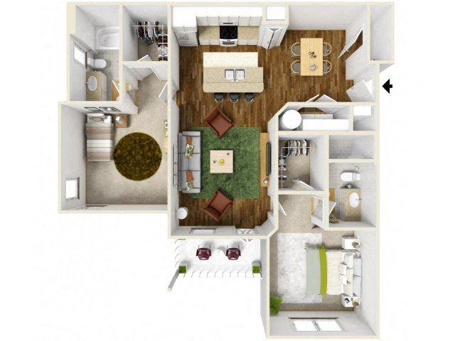 Sonoma Pointe Two Bedroom Floor Plan