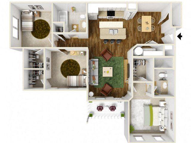 Sonoma Pointe Three Bedroom Floor Plan