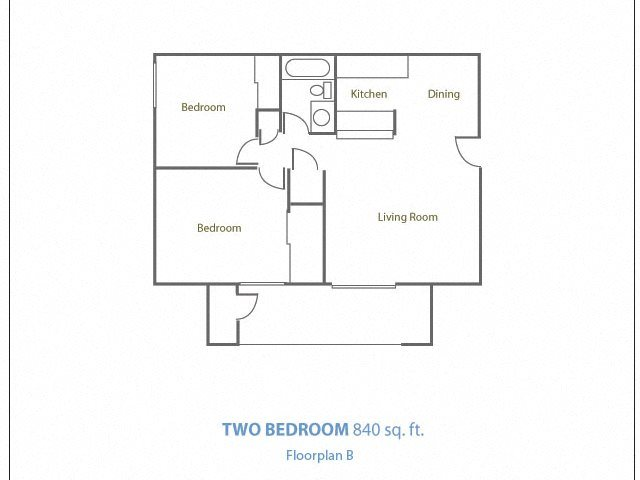 Two Bedroom One Bathroom Floor Plan 2