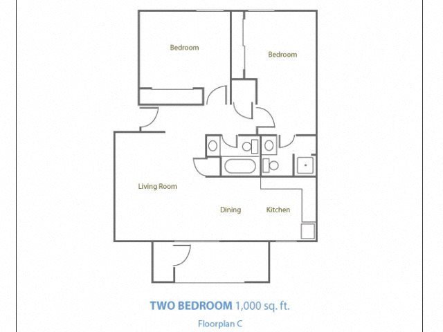 Two Bedroom Two Bathroom Floor Plan 3