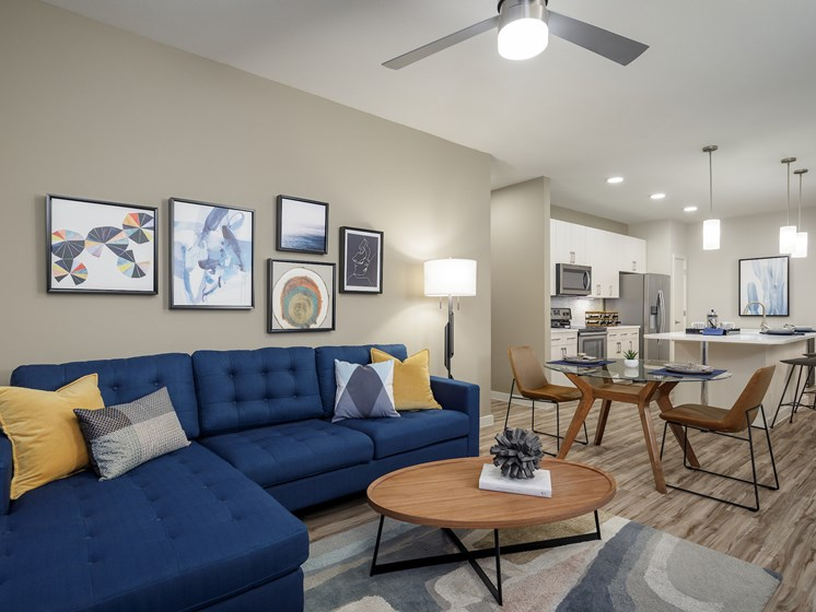 Decorated Apartment Living Room at The Baldwin at St. Paul Square, Texas, 78205