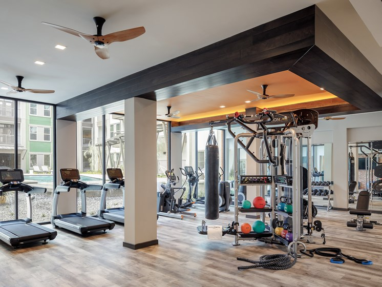 Contemporary fitness center at The Baldwin at St. Paul Square, San Antonio
