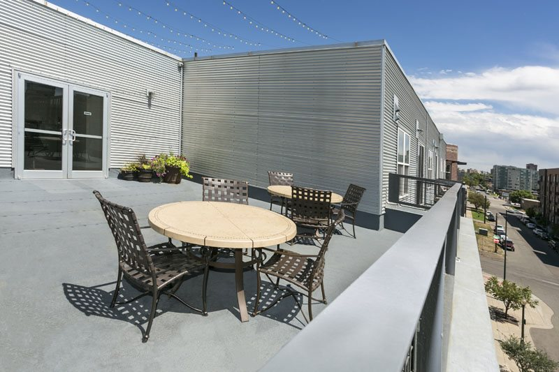 Rooftop Terrace with City View at Ballpark Lofts Apartments, Denver, CO,80205