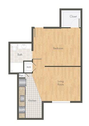 Ballpark Loft Apartments Open Floor plan 1 bed 1 bath